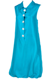 Oscar de la Renta Sleeveless Carribean Blue Silk Bubble Dress Resort 2009