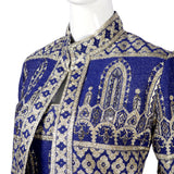 1960s Oscar de la Renta blue silk jacket and dress with silver embroidery