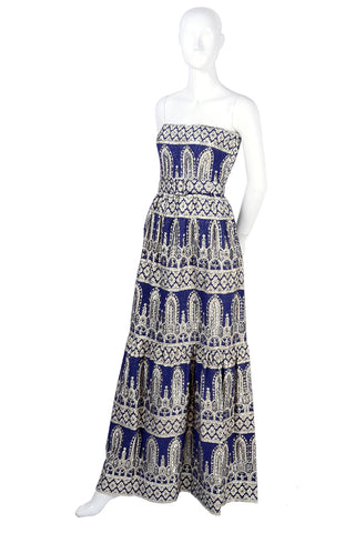 Oscar de la Renta vintage blue silk sleeveless evening gown