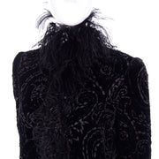 Oscar de la Renta Black Velvet Coat w Sequins Lurex Lace & Feathers