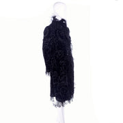 Oscar de la Renta Black Velvet Coat w Sequins Lace & Feathers us