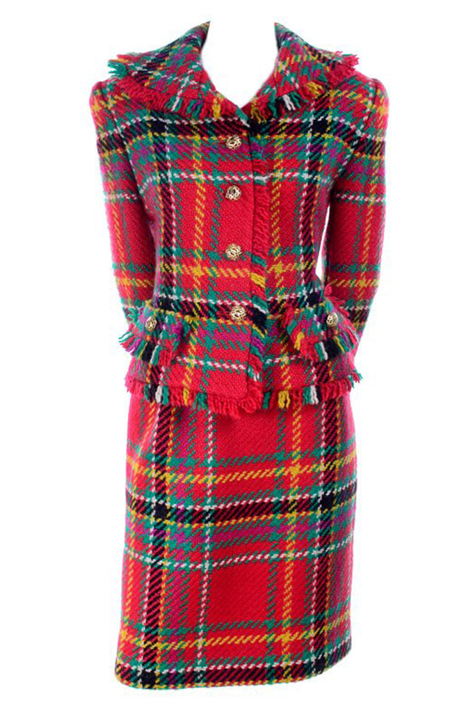 Fall 1991/1992 Oscar de la Renta red plaid fringe skirt suit