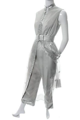 Oscar de la renta 1970's jumpsuit with a sheer skirt overlay