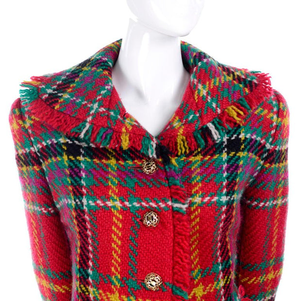 Fall 1991/1992 Oscar de la Renta red plaid fringe jacket skirt suit
