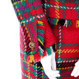 Fall 1991/1992 Oscar de la Renta tartan plaid fringe skirt suit pocket