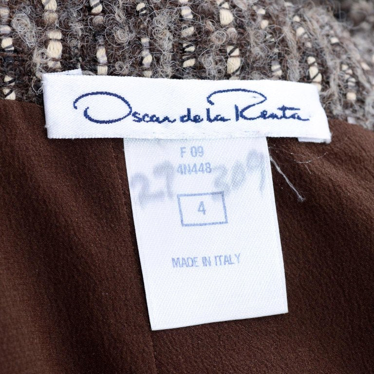 2009 Oscar de la Renta brown wool alpaca mohair skirt