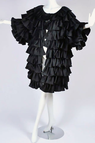 Oscar de la Renta Vintage Black Ruffle Evening Coat