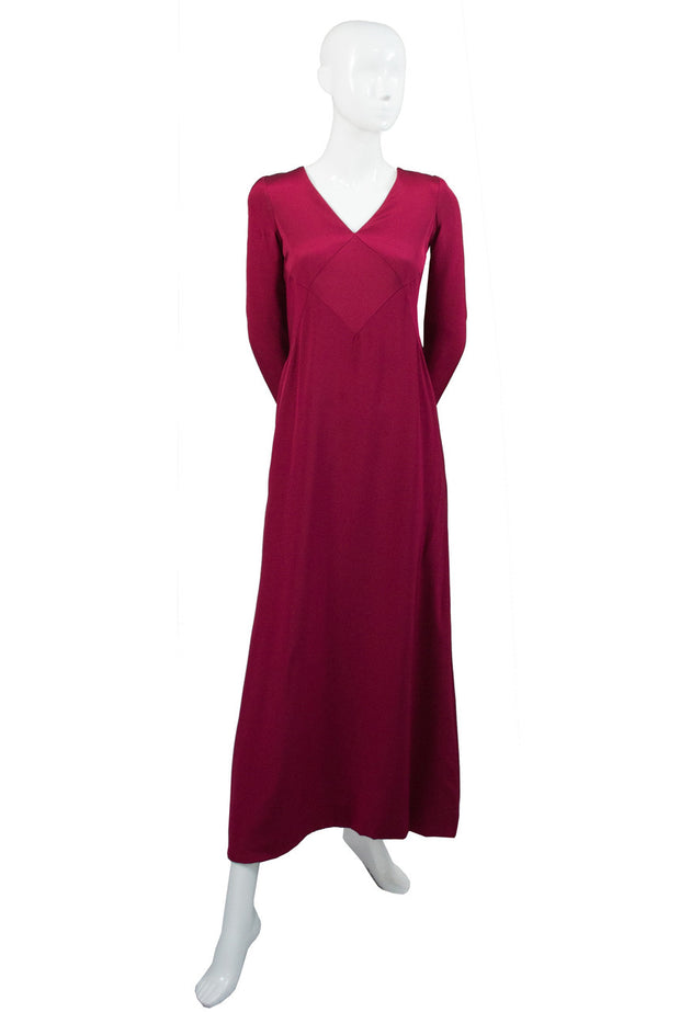 Oscar de la Renta vintage berry red silk jersey maxi dress - Dressing Vintage
