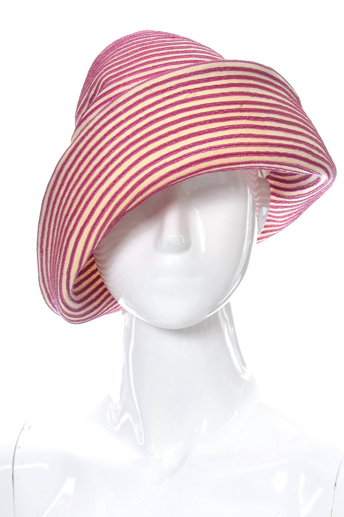 Vintage Otto Lucas Hat England Pink and White Striped – Dressing Vintage 0a2177b01bc