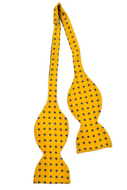 1980s large polka dot vintage yellow bow tie