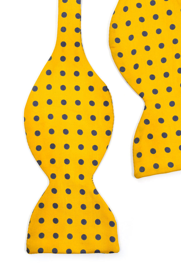 80's silk vintage polka dot yellow bow tie