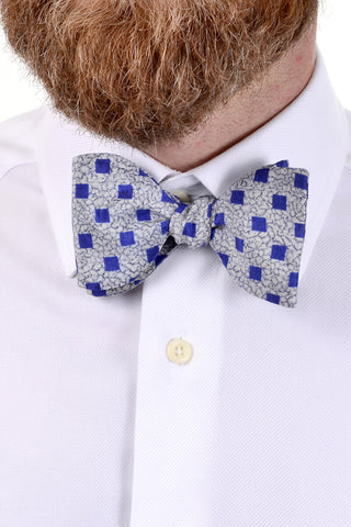 Vintage blue checked bow tie