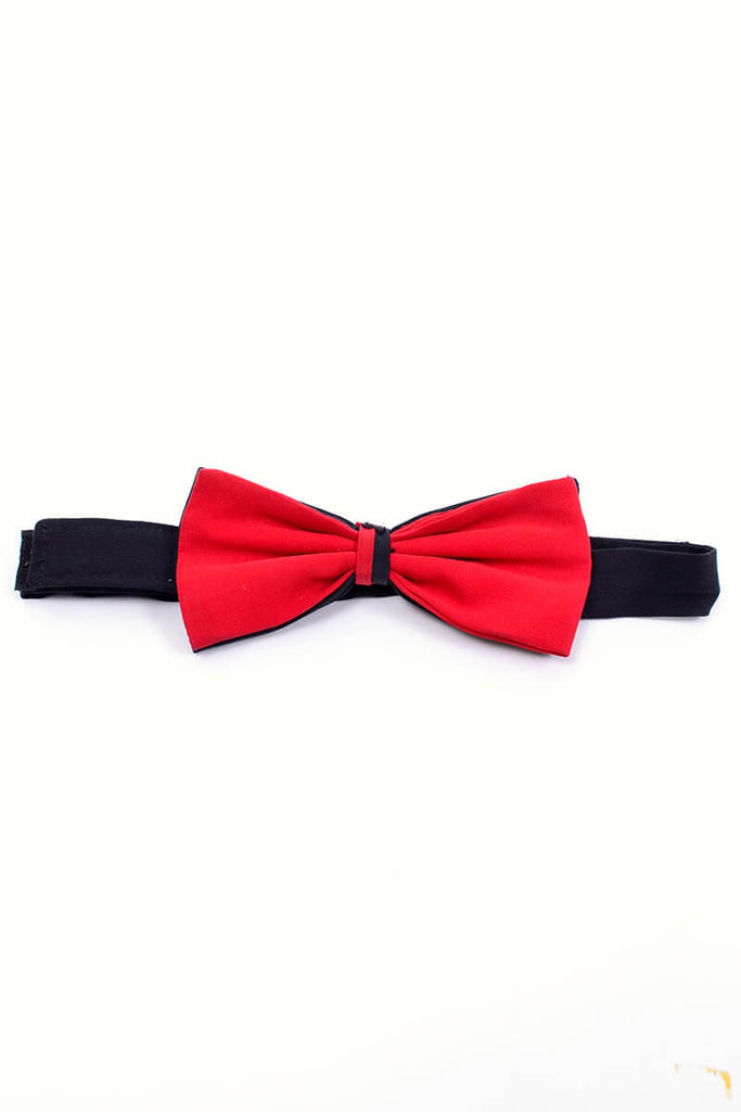Pancaldi red and black silk pocket square and bow tie set vintage 1980s