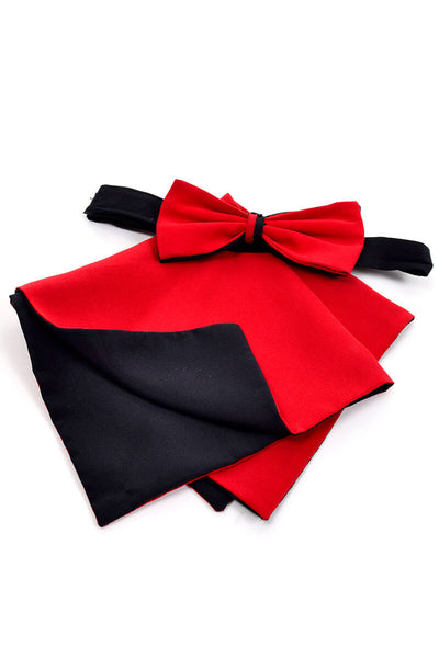 Pancaldi red and black pocket square and bow tie set vintage 1980s