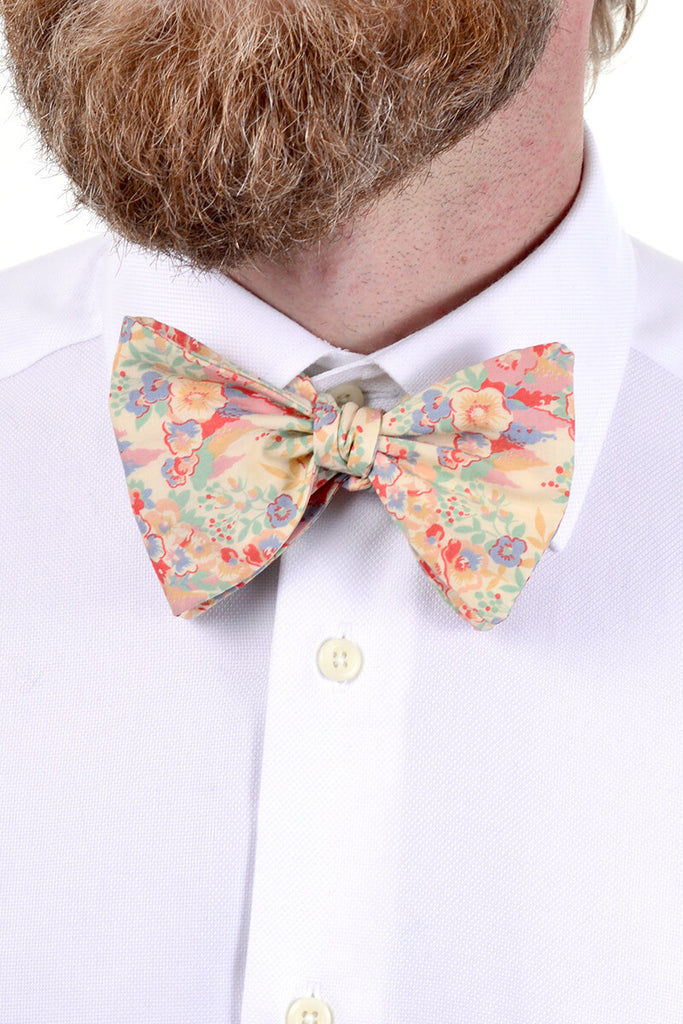 Vintage silk bow tie pastel pink yellow green