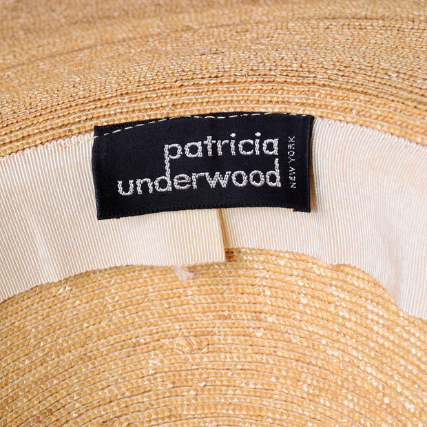 Patricia Underwood Vintage Wide Brim Woven Natural Straw Hat