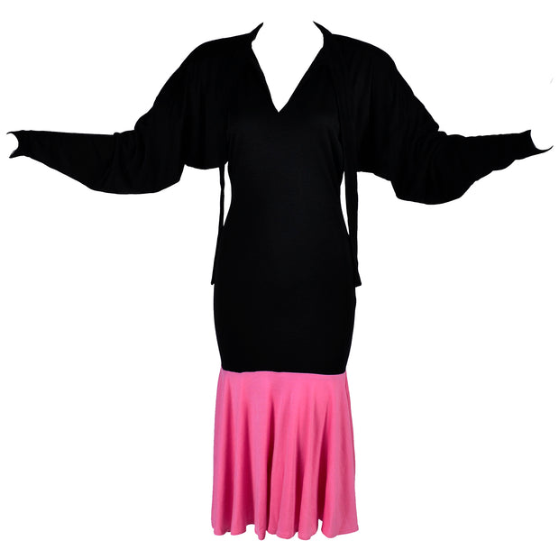 1980s Patrick Kelly Vintage Color Block Pink and Black Dress Rare vintage