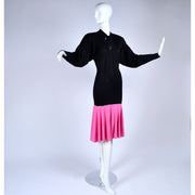 1980s Patrick Kelly Vintage Color Block Pink and Black Dress Dolman Sleeves