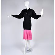 Rare 1980s Patrick Kelly Vintage Color Block Pink and Black Dress