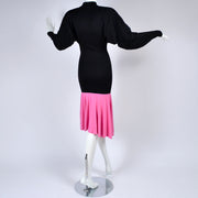 1980s Patrick Kelly Vintage Color Block Pink and Black Dress Rare