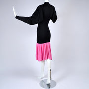 1980s Patrick Kelly Paris Vintage Color Block Pink and Black Dress