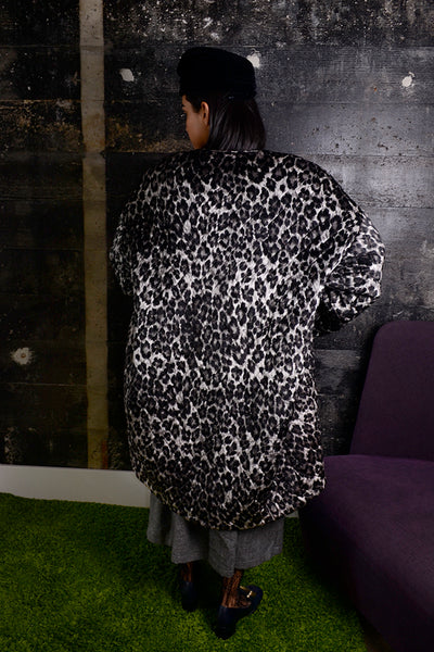 319f6bf75fd6 1980s Patrick Kelly Leopard Print Vintage Coat Quilted Silk Open Front