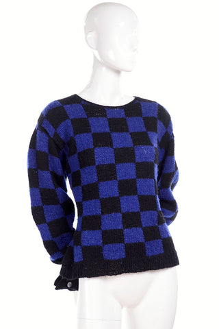 Hand knit wool vintage Perry Ellis blue and black check sweater