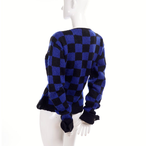 1980's vintage Perry Elllis blue and black check sweater