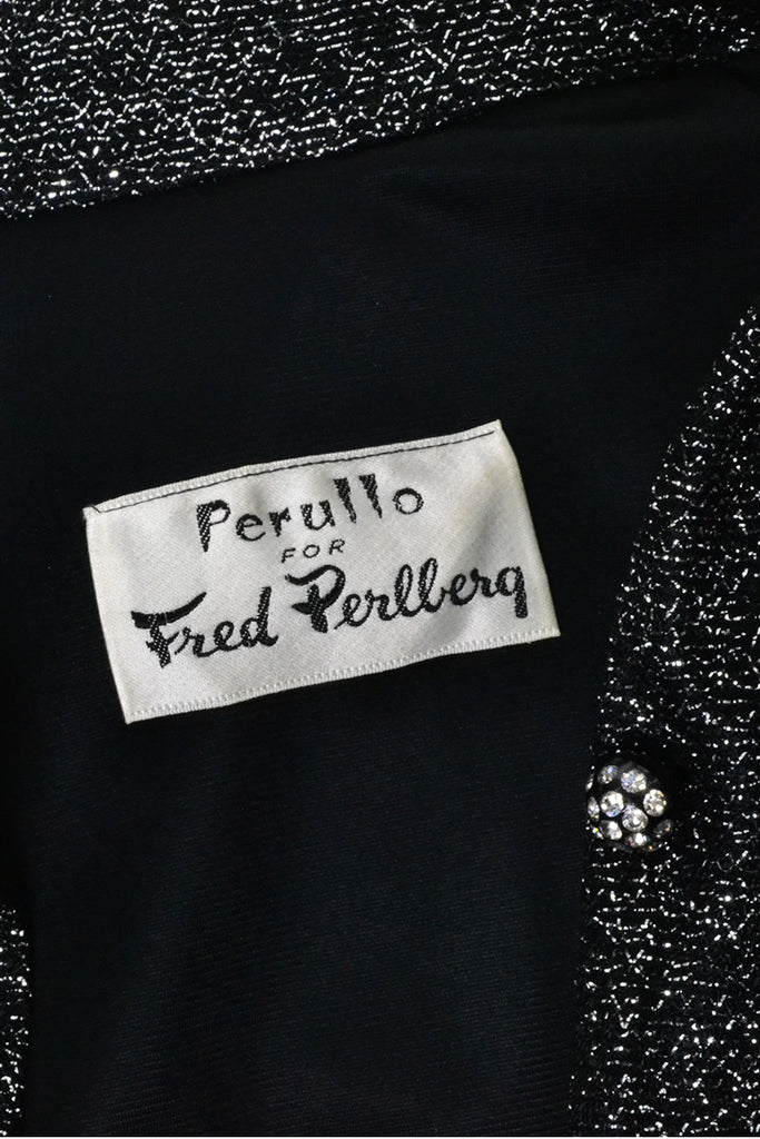 Perullo for Fred Perlberg vintage Black Silver Metallic Dress Rhinestones
