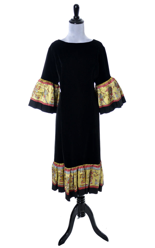 Theatrical Vintage Black Velvet Dress with Aztec Novelty print Trim 42B - Dressing Vintage