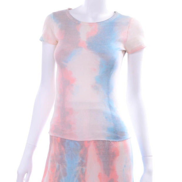 1970s Phyllis Sues Pink & Blue Cotton Tie Dye Skirt & Top
