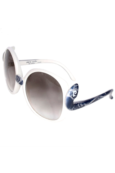 Pierre Cardin Round Oversized Vintage Sunglasses Blue & White