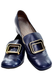 1960s Pierre Cardin Navy Blue Leather Pilgrim Shoes w/ Gold Buckles