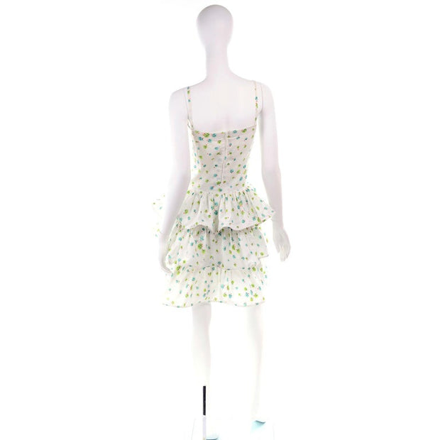Pierre Cardin Numbered Boutique Dress w/ Ruffles in Green & Blue Floral / Small