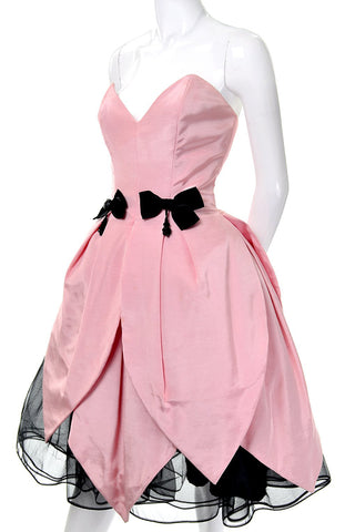 1980s Victor Costa Dress Pink Tulip Tulle Bergdorf Goodman