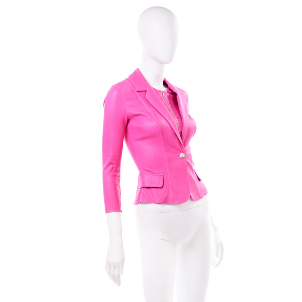 Aphero Hot Pink Lambskin Leather Jacket Single Front Button