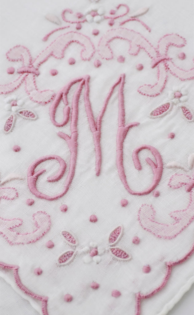 Initial M Vintage Pink Handkerchief Madeira