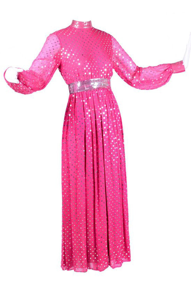 1960's Norman Norell Pink Silk Vintage Dress w/ Silver Sequins & Sheer Sleeves