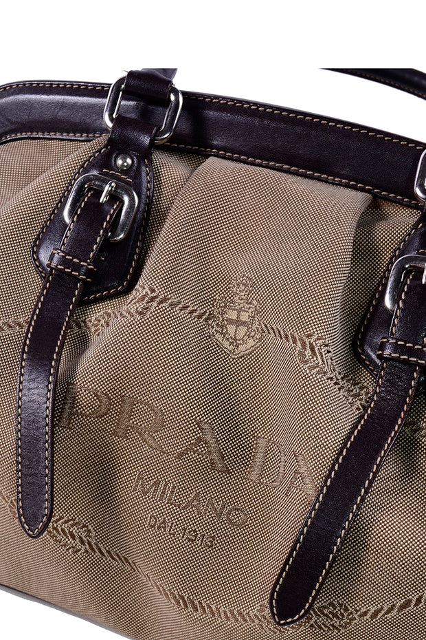 Vintage Prada Milano Dal 1913 Vintage Top Handle Canvas Leather Handbag
