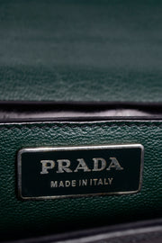 Vintage 1990s Prada Black Leather Vitello Sound flap handbag w Dust Bag Green lining