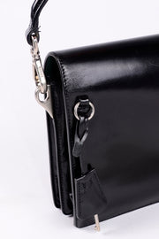 Locking Vintage 1990s Prada Black Leather Vitello Sound flap handbag w Dust Bag