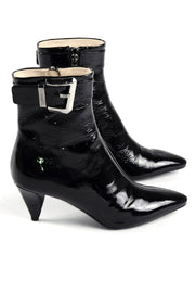 Heeled Prada Patent Leather Booties w/ Pointed Heel 8.5