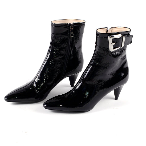 Prada Black Patent Leather Boots W Cone Heels & Silver Buckles Size 8.5