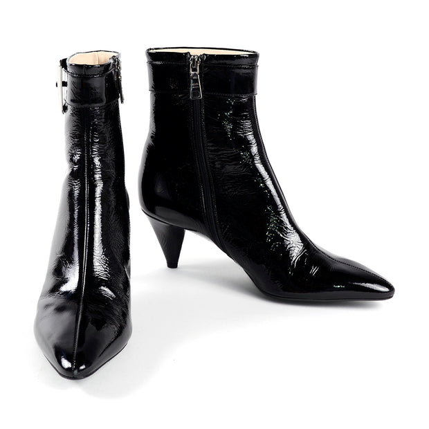 Prada black patent leather pointed booties