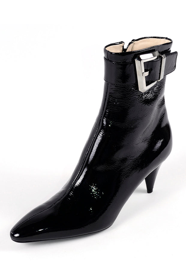 Prada Black Patent Leather Booties w/ Cone Heels Size 38.5