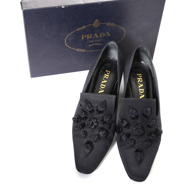 Prada Vintage Shoes Calzature Donna in Tessuto Roses Size 37.5 US 7 - Dressing Vintage