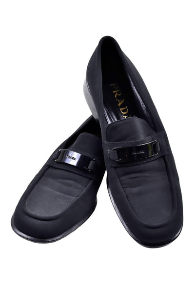 1990's Prada Vintage Black Fabric Loafers Size 38 - Dressing Vintage