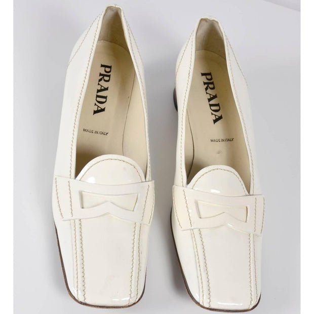 Vintage Prada Loafer Shoes in White