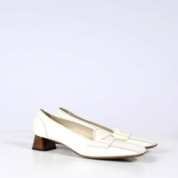 Square Toe Prada Loafers in White