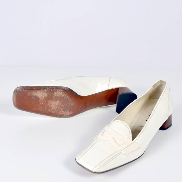 Vintage Prada White Loafers 39.5 9.5